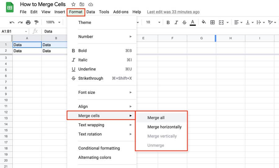Merge all cells Google Docs