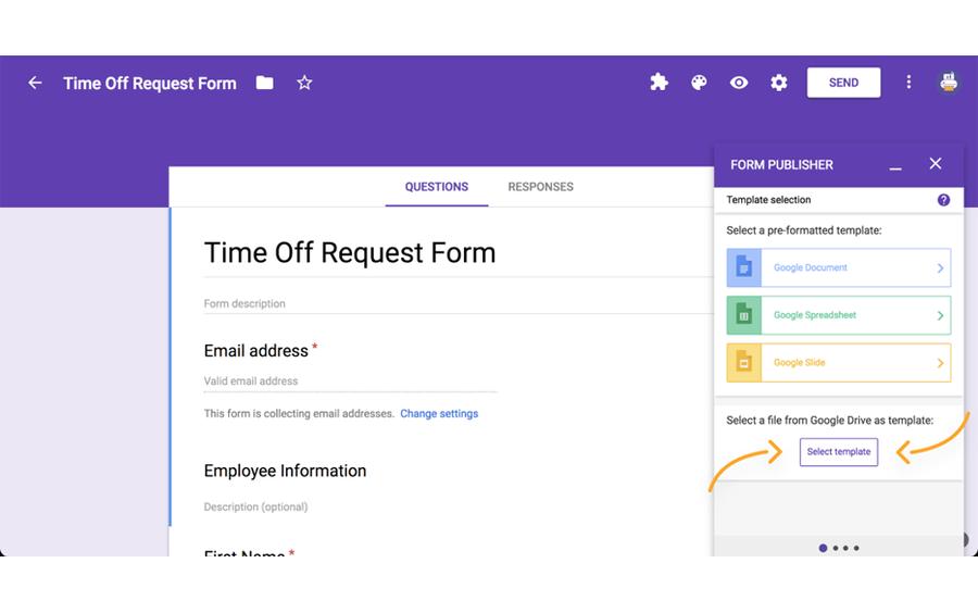 form publisher google workspace addon