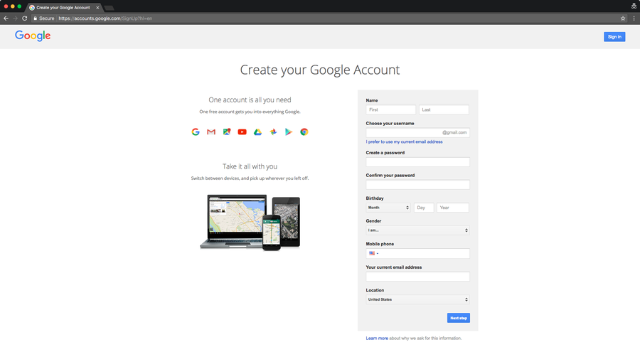 Create a dedicated Gmail account