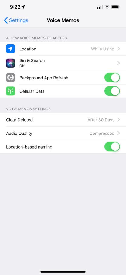 iOS Voice Memo settings