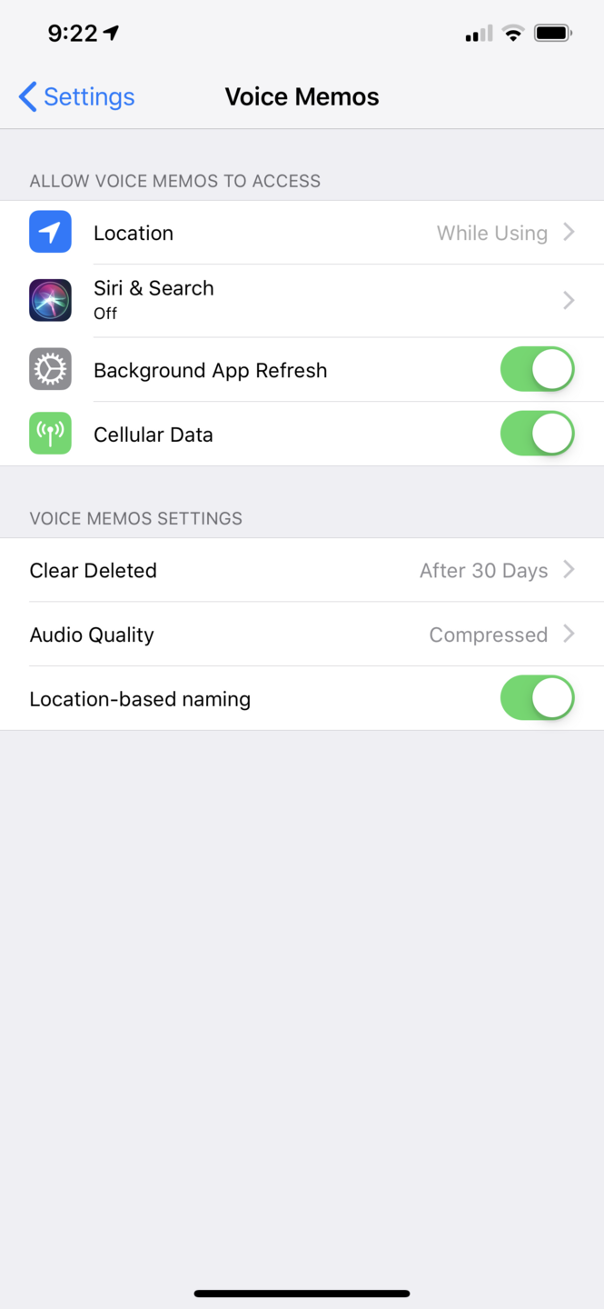 iOS Voice Memo settings