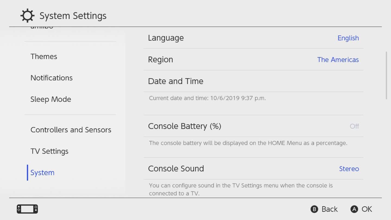 Nintendo Switch System Settings