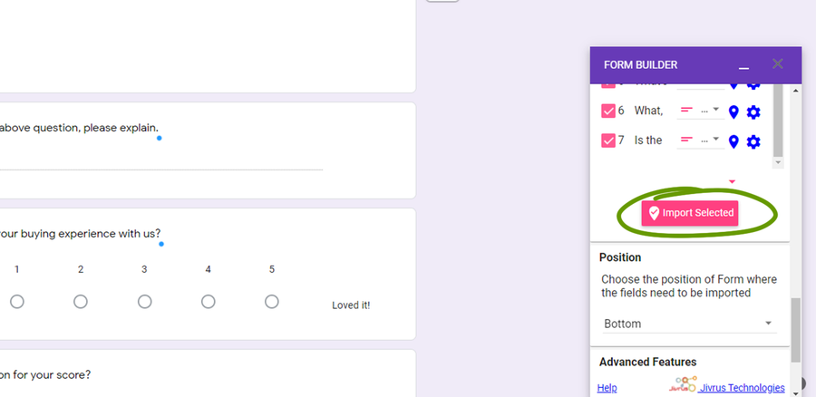 import questions google forms