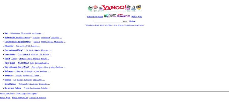 original Yahoo homepage