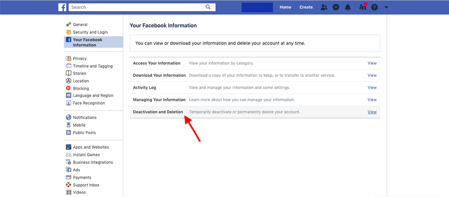 Deactivate or Delete Facebook