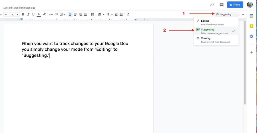 suggesting mode google docs
