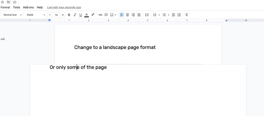 only some of a page to landscape Google Docs