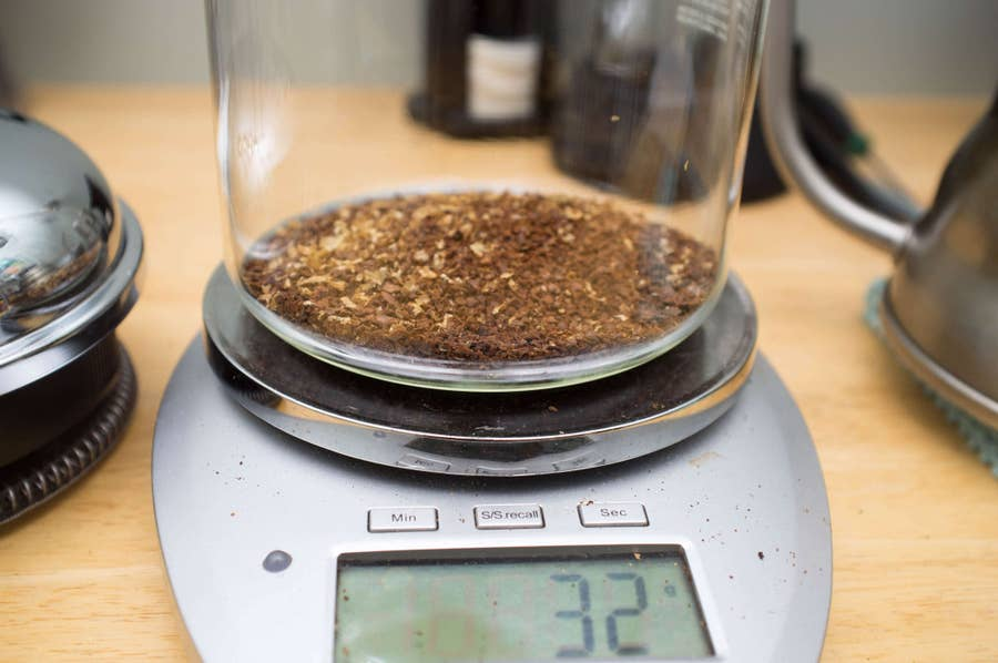 Add coffee to french press