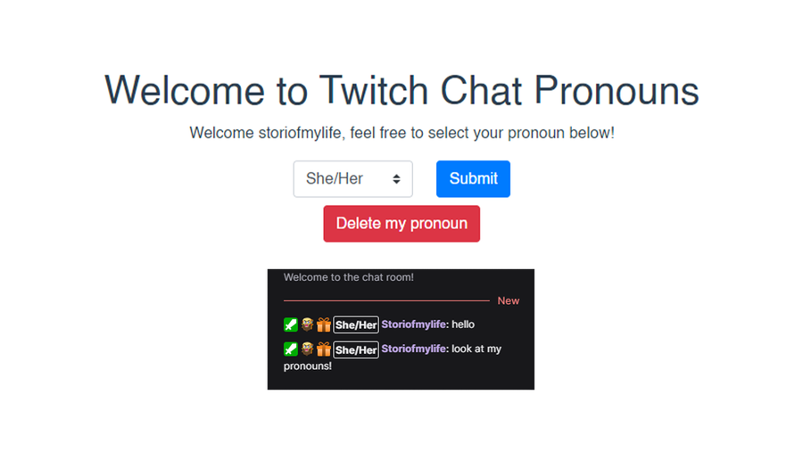 free content creation tool twitch chat pronouns