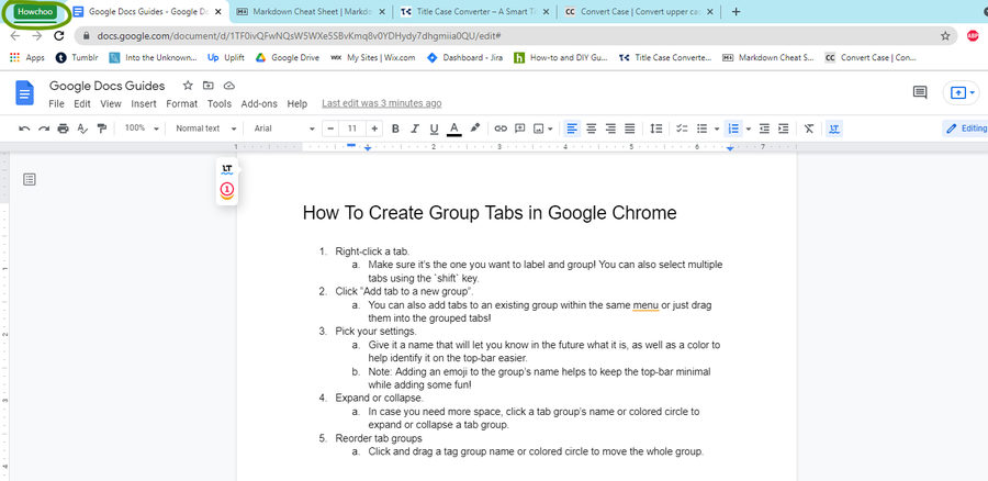 expand or collapse google chrome tab group