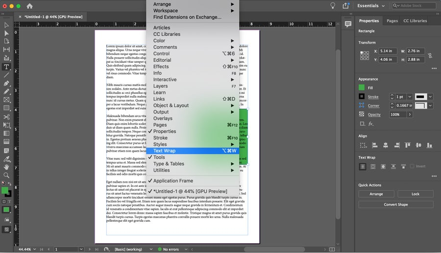 Text Wrap Window InDesign