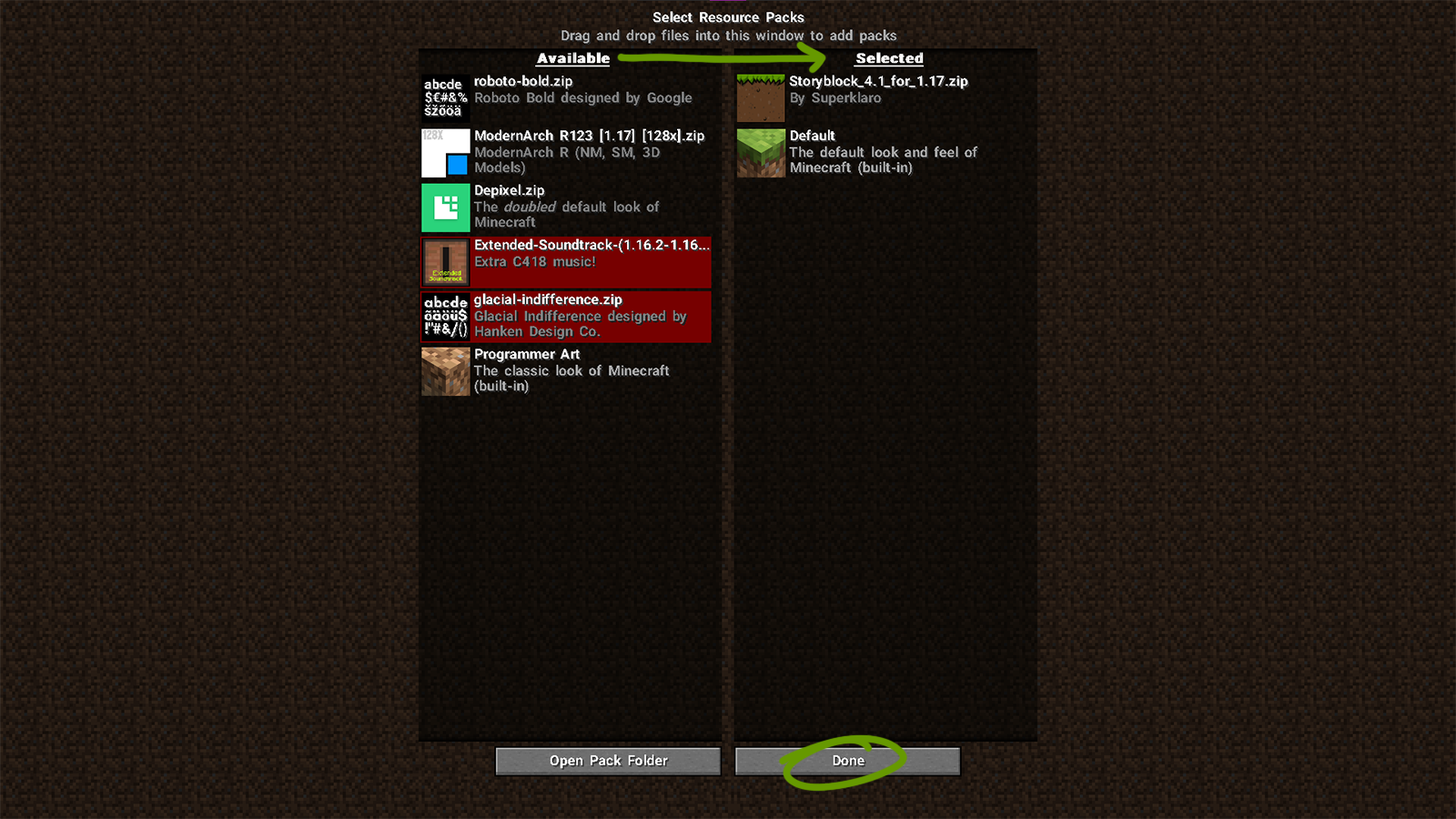 resource pack settings minecraft