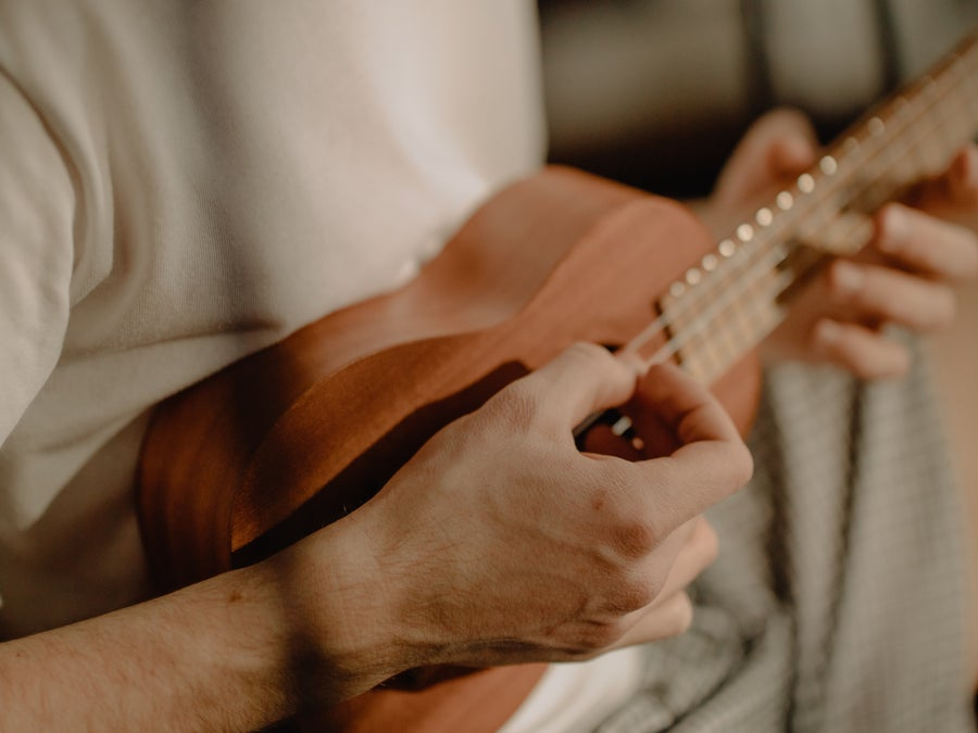 Uke playing/tuning.