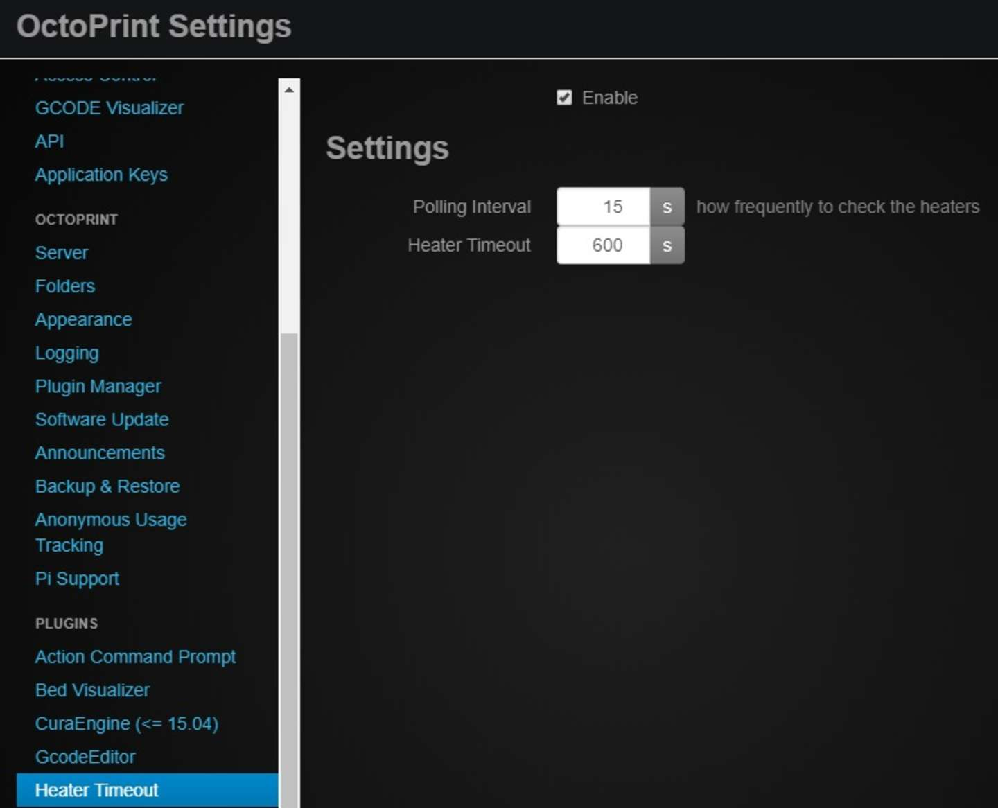 Heater Timeout OctoPrint plugin screenshot