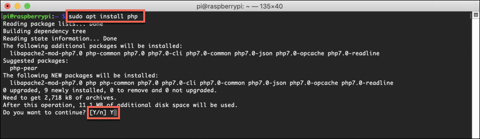 Installing PHP on a Raspberry Pi