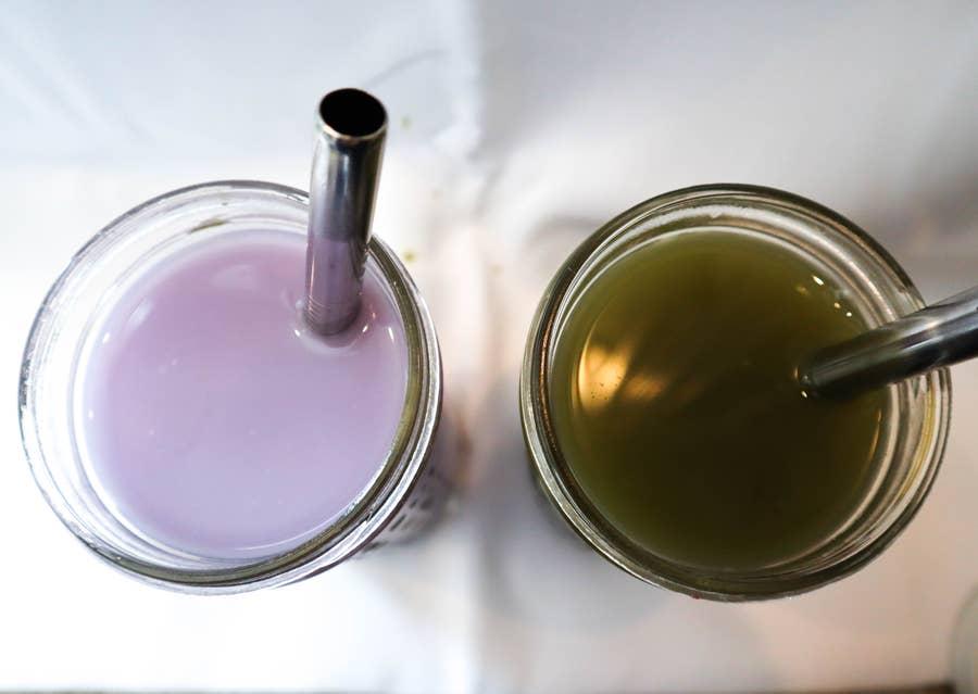 taro matcha green tea boba tea