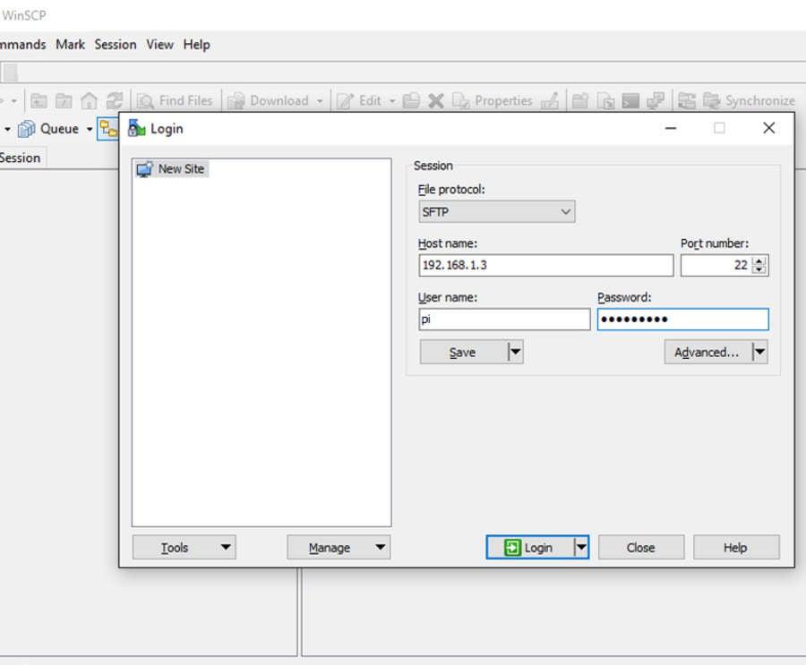 Raspberry Pi SFTP file transfer