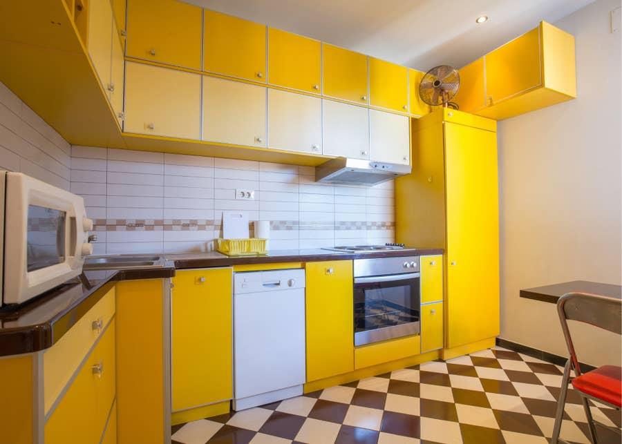 Very yellow kitchen.